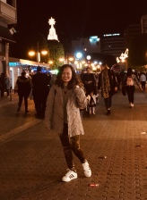 The golden warm leggings plus this jacket and a pair of comfy adidas while walking in the city at night on spring time.